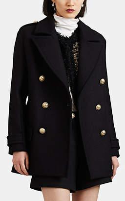 Balmain Women's Wool Felt Double-Breasted Coat - Navy
