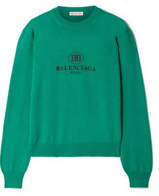 Balenciaga Embroidered Wool Sweater - Emerald