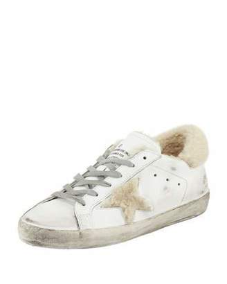 Golden Goose Superstar Leather Platform Low-Top Sneakers with Fur
