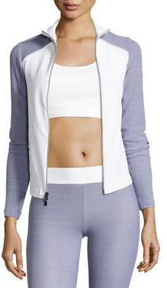 Heroine Sport Tracking Fitted Performance Jacket, Gray/White