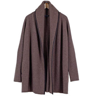 Wool Blend Leather-Trim Shawl Coat