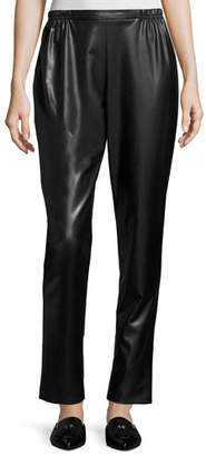 Caroline Rose Bi-Stretch Faux-Leather Pants, Black, Plus Size