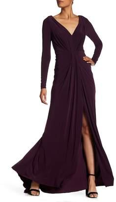 Vera Wang Ruffle V-Neck Gown