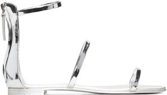 Giuseppe Zanotti Silver Patent Roll Sandals $650 thestylecure.com