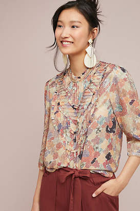 Burning Torch Ruffled Silk Tunic
