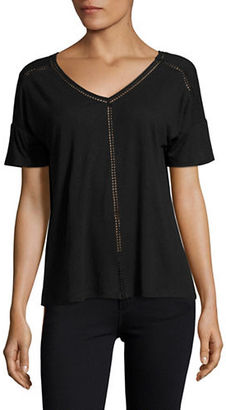 Lord & Taylor Double V-Neck Linen Tee $54 thestylecure.com