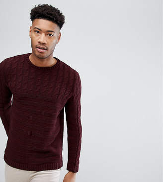 67f6f7fc6f Asos Design TALL Cable Knit Yoke Sweater In Burgundy