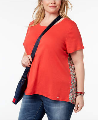 Tommy Hilfiger Plus Size Floral-Print-Back Top, Created for Macy's