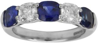 Platinum 1.97ct Diamond & Sapphire Eternity Ring - Size M.5