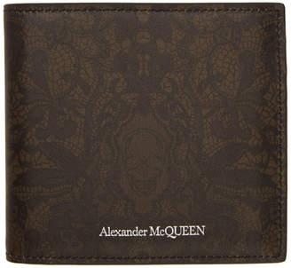 Alexander McQueen Black and Brown Floral Skull Wallet