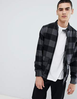 ONLY & SONS checked wool harrington jacket