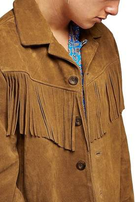 Topman Fringed Suede Classic Fit Jacket