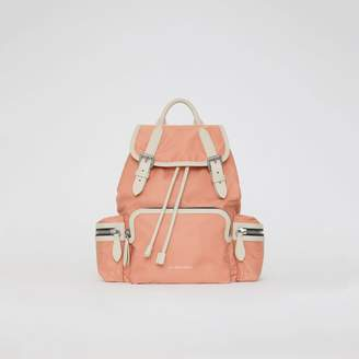 Burberry The Medium Rucksack in Technical Nylon and Leather, Pink