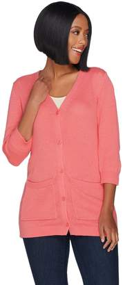 Denim & Co. 3/4 Sleeve Button Front Cardigan with Pockets