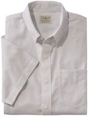 L.L. Bean L.L.Bean Men's Easy-Care Chambray Shirt, Traditional Fit Short-Sleeve Stripe