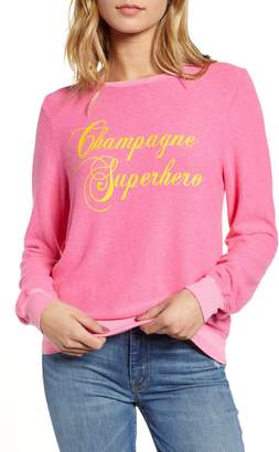 Wildfox Couture Baggy Beach Jumper - Champagne Superhero Pullover