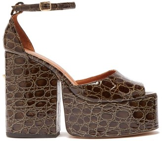 Osman Gesa Crocodile Effect Leather Platform Sandals - Womens - Khaki
