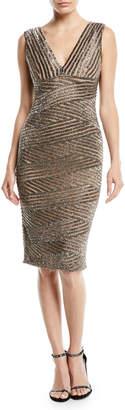Rachel Gilbert V-Neck Sleeveless Striped-Sequin Cocktail Dress