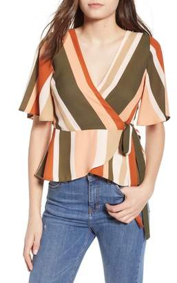 4SI3NNA Stripe Flutter Sleeve Wrap Top