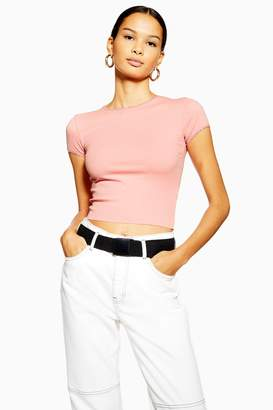 Topshop Womens Petite Pink Picot Trim T-Shirt - Pink