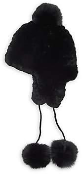 Pologeorgis Women's Rex Rabbit & Fox Fur Pom-Pom Knit Trapper Hat