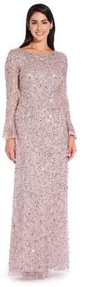Adrianna Papell Womens Pink Beaded Long Dress - Pink