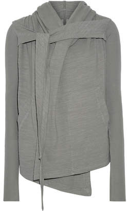Rick Owens - Hooded Cotton-jersey Cardigan - Dark gray $640 thestylecure.com