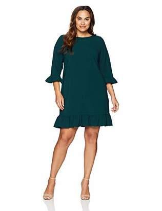 Jessica Howard Plus Size Womens 3/4 Sleeve Shift Dress with Ruffle Cuffs