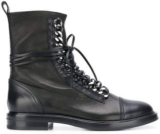 Casadei chain embellished combat boots