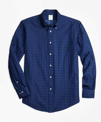 Brooks Brothers Milano Fit Indigo Nautical Clip Sport Shirt`