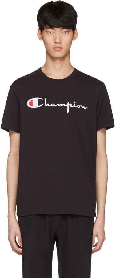 Champion Reverse Weave Black Logo T-Shirt