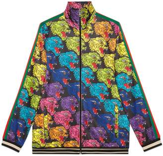 Gucci Panther face technical jersey jacket