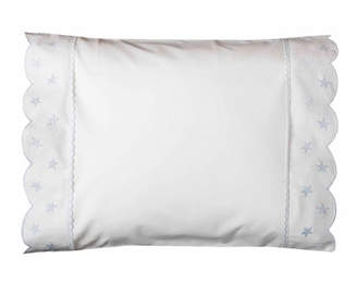 Bovi Fine Linens Twinkle Crib Pillowcase, White/Blue