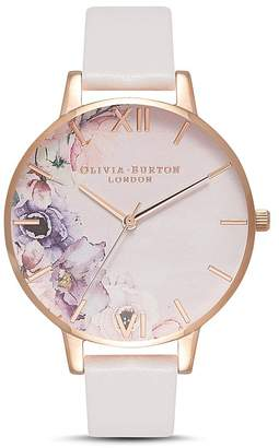Olivia Burton Watercolour Floral Blush Strap Watch, 38mm