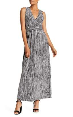 WEST KEI Stripe Print Knit Wrap Maxi Dress