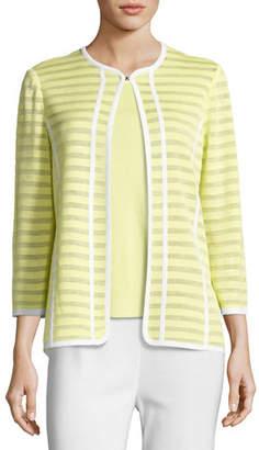Misook Striped Ribbon-Trim Textured Jacket, Daiquiri Green