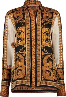 Versace Leopard Printed Button Up Shirt