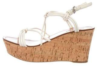 Prada Knotted Platform Wedge Sandals