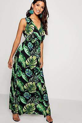 boohoo NEW Womens Tropical Print Wrap Front Maxi Dress in Polyester