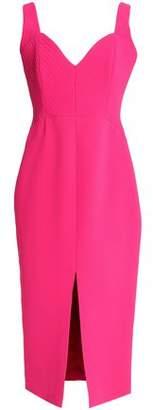 Nicholas Split-Front Quilted Crepe Midi Dress