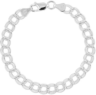 "Sterling Double Link Solid 7"" Charm Bracelet"
