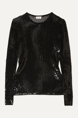 Saint Laurent Sequined Linen And Silk-blend Top - Black