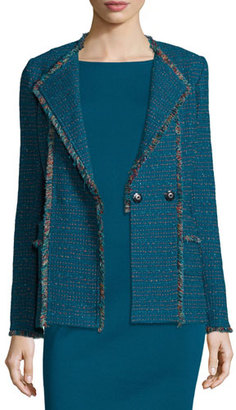 St. John Collection Tweed Double-Breasted Jacket, Tanzanite/Multi $1,695 thestylecure.com