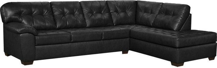 Rooms To Go Angelo Bay 2 Pc Onyx Blended Leather Sectional