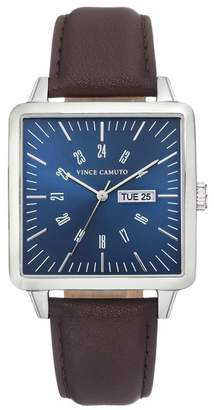 Vince Camuto Men's Square Faux Leather Strap Watch, 38mm