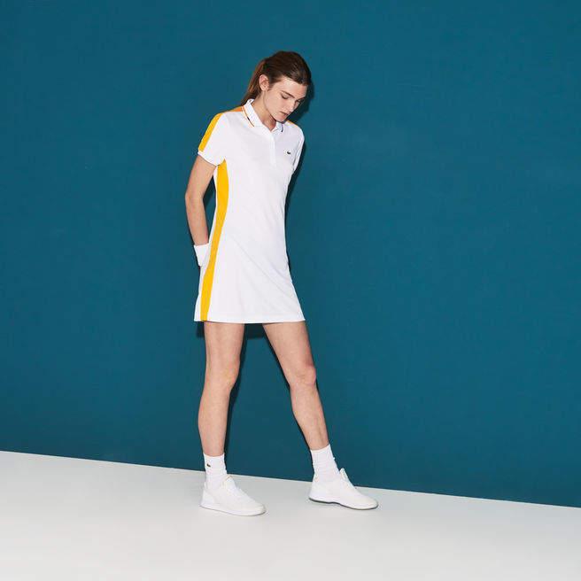 Damen SPORT Tennis-Polokleid mit Kontraststreifen