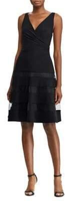 Lauren Ralph Lauren Tulle-Panel Jersey Dress