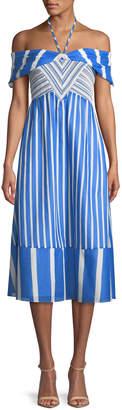 Tanya Taylor Celina Striped Off-the-Shoulder Midi Dress