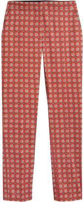 Burberry Equestrian Check Print Stretch Cotton Cigarette Trousers
