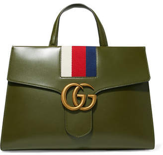 Gucci Gg Marmont Striped Canvas-trimmed Leather Tote - Army green